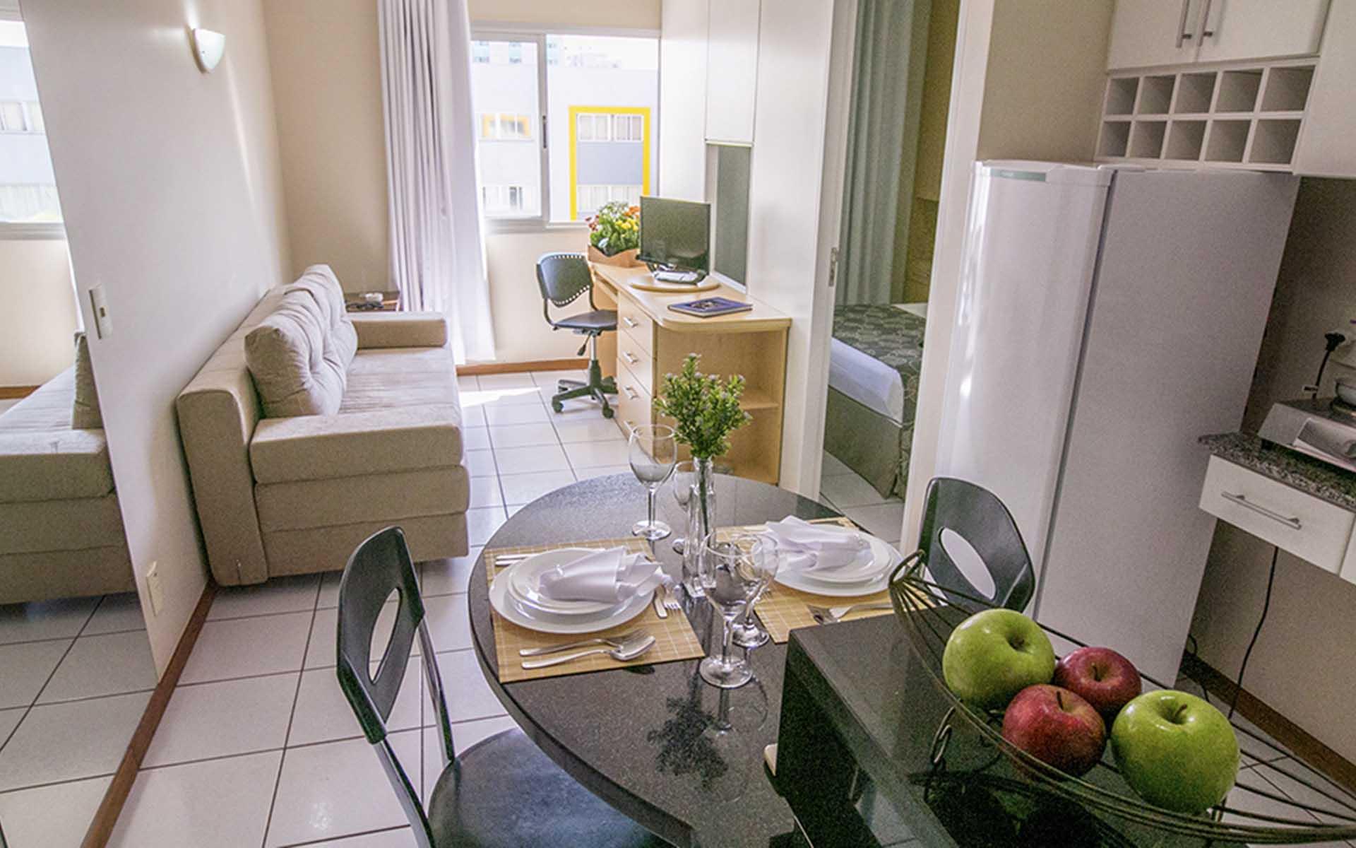 quarto luxo do apart hotel flat em brasilia multiparque hplus long stay