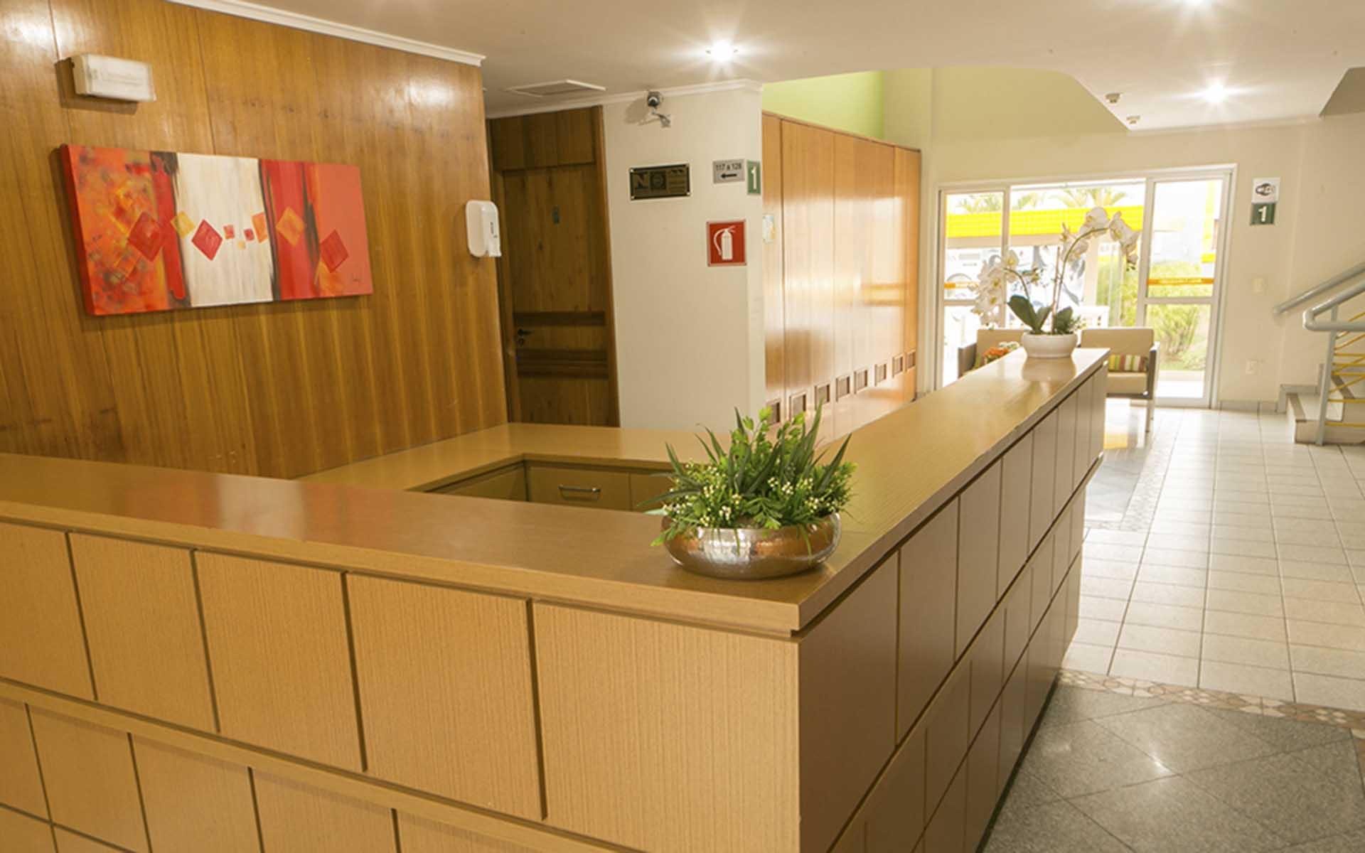 recepção apart hotel flat em brasilia multiparque hplus long stay