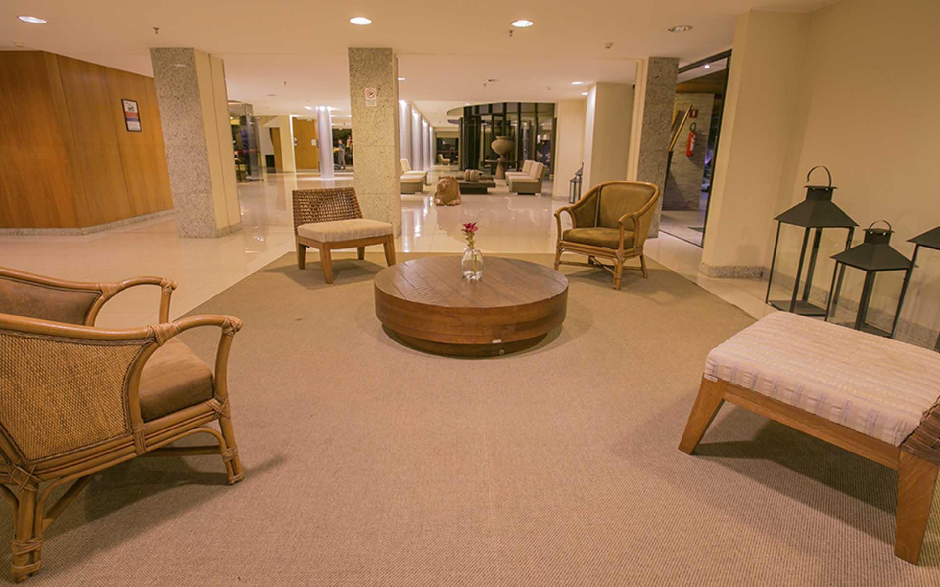 recepção do apart hotel flat em brasilia life resort hplus long stay